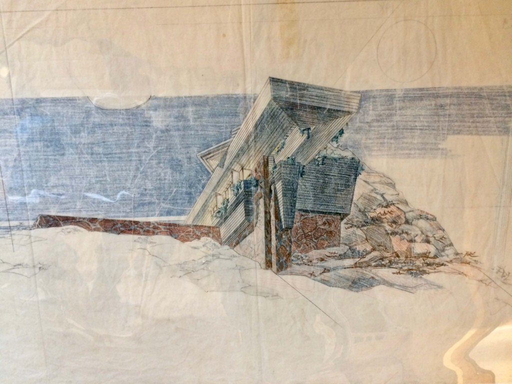 Frank Lloyd Wright (1867–1959), Drawing for the 'Eaglefeather' estate for Arch Oboler in the Santa Monica Mountains, 1940.