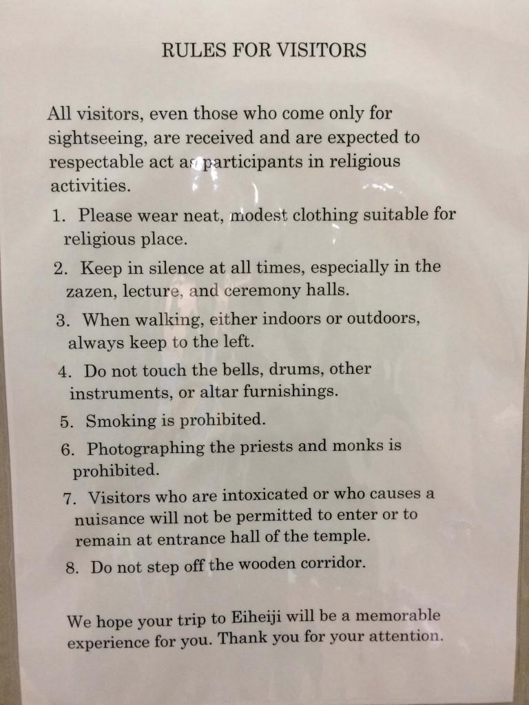eiheiji rules